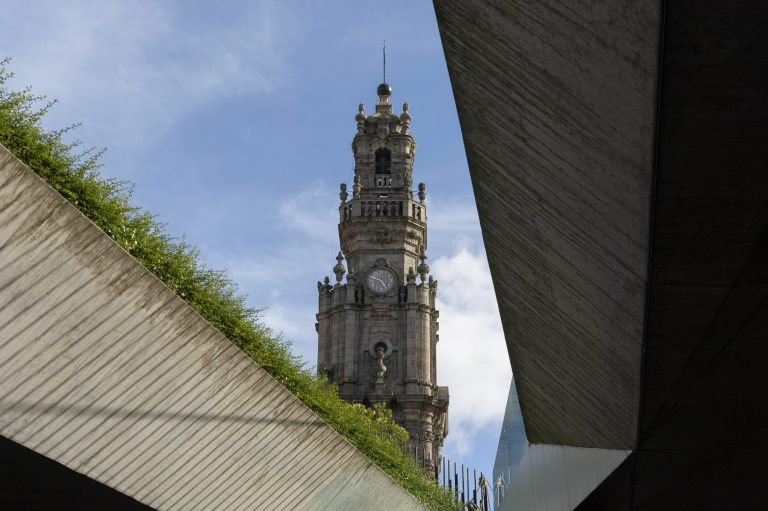 Clerigos tower. Old houses, city of Porto.  Old and new architecture.