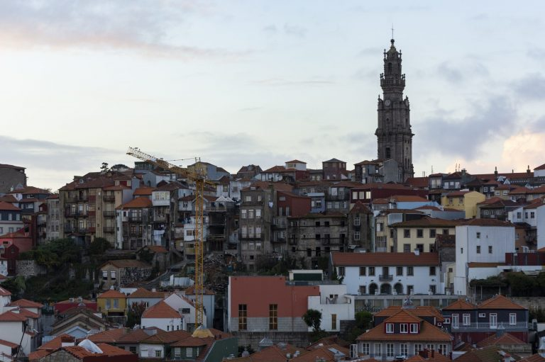 Viewpoint to Clerigos tower. Old houses, city of Porto